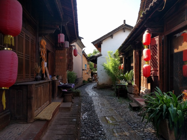 Shanxi alley with small businesses